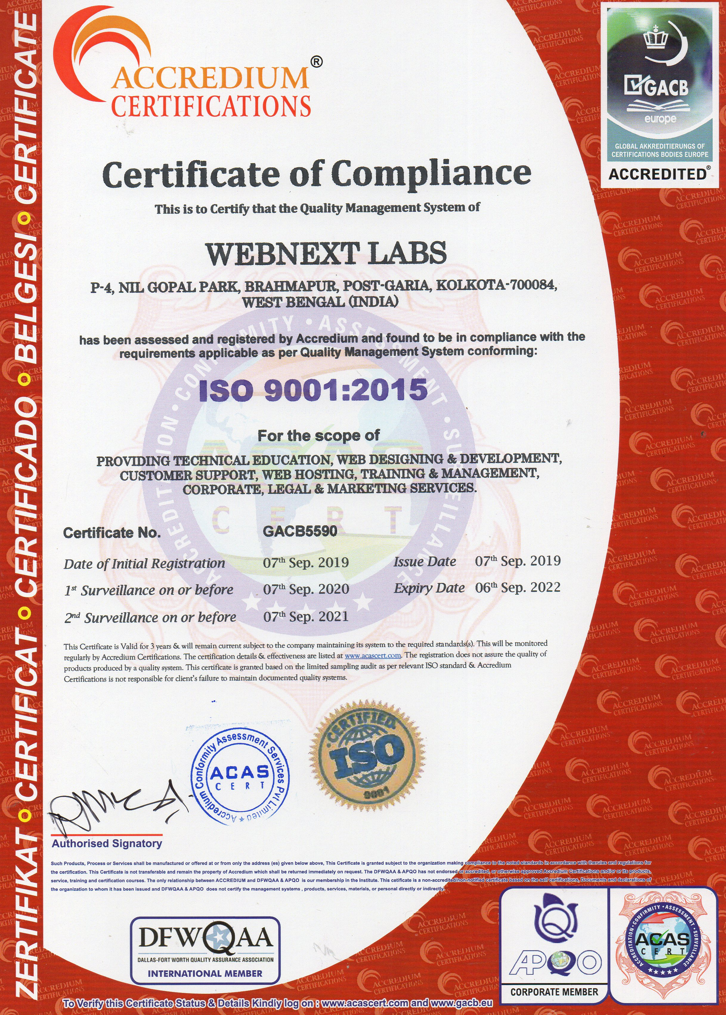 ISO 9001:2015 certificate of WEBNext Labs™